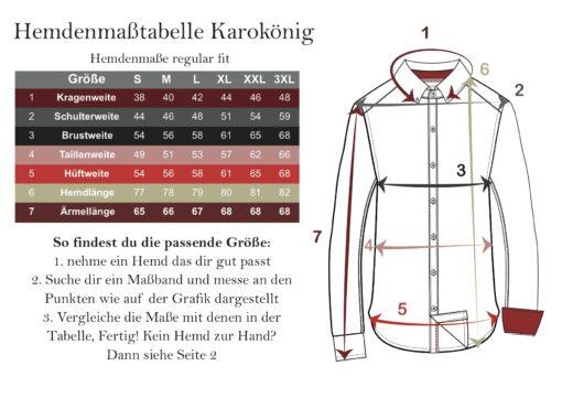 Maßtabelle Karokönig-Hemd-regular