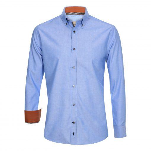 Hemd-blau-vorne-slim-fit